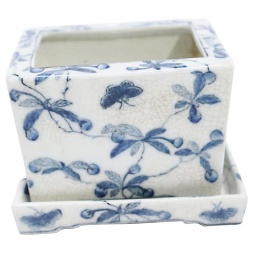 Blue & White Butterfly & Vine Jardiniere