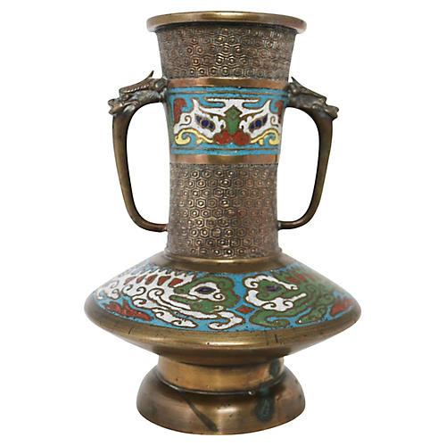Cloisonné Vase w/ Horned Beast Handles
