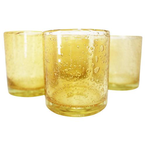 Handblown Citrine Glasses, S/4