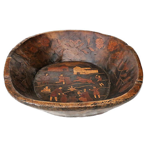 19th-C. Inlaid Dough Bowl