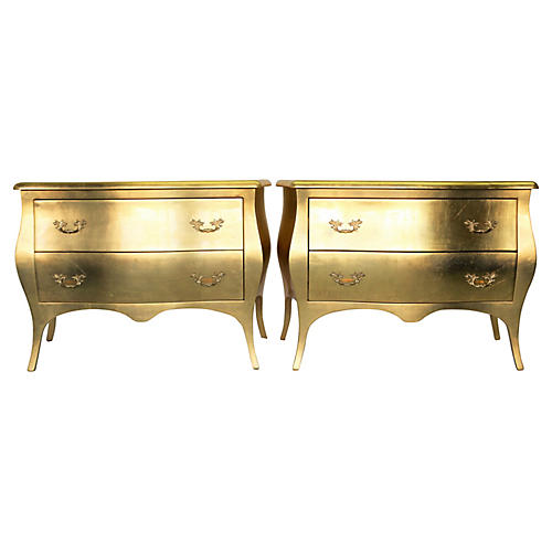 Jimeco Gold Leaf Bombé Chests, S/2