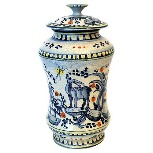 Majolica Apothecary Jars, S/2