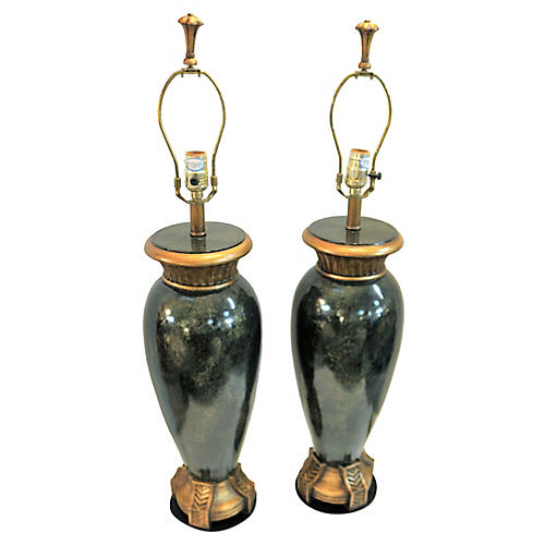 Large Juniper and Gold Lamps, Pair