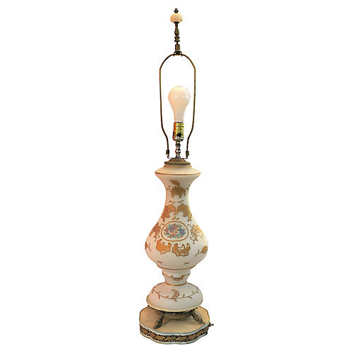 Antique Opaque & Gold Hand Painted Lamp
