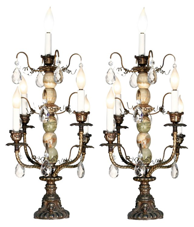 Agate & Crystal Candelabra Lamps, Pair