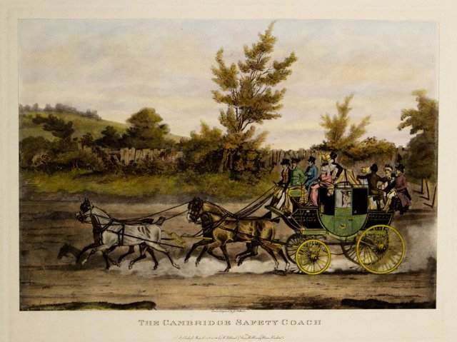 Cambridge Coach Antique Engraving