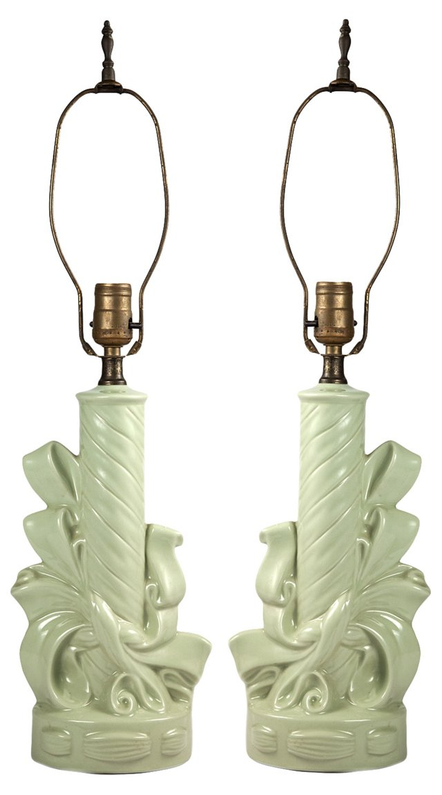 Porcelain Ribbon Lamps, Pair