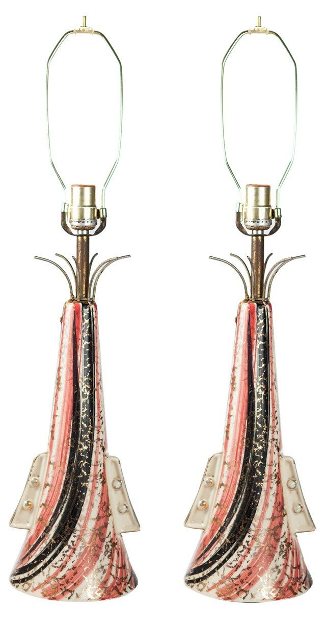 1950s Trumpet Lamps, Pair