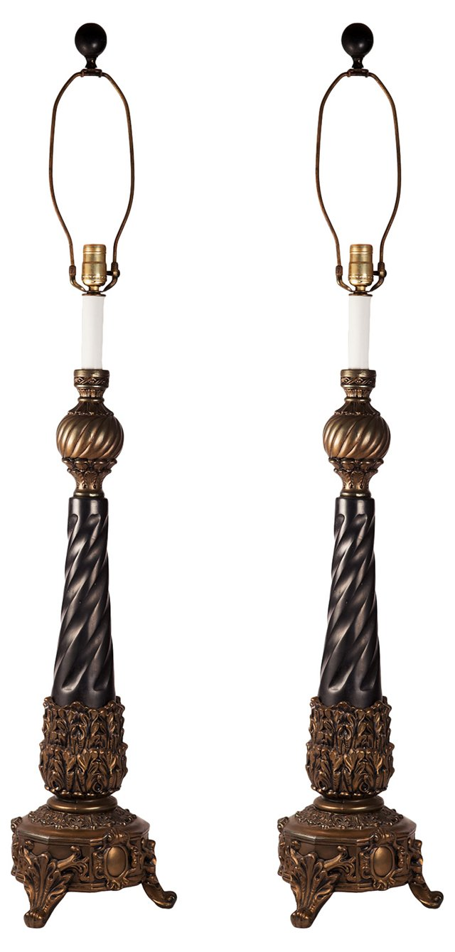 1940s Russian Brass Lamps, Pair