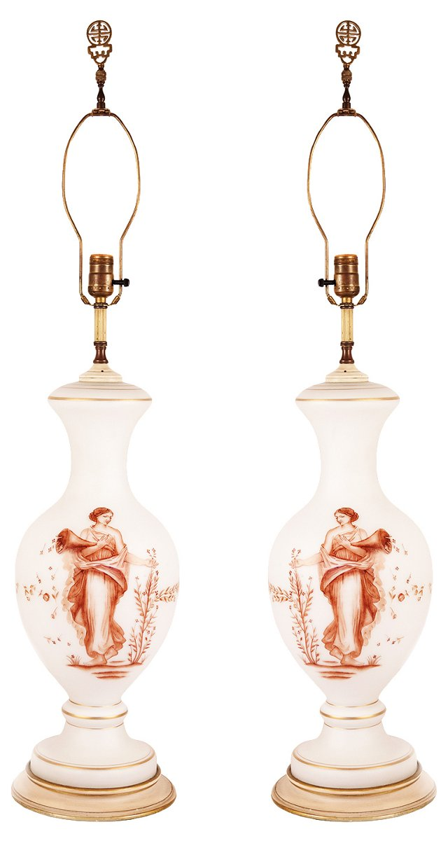 Hand-Painted Demeter Lamps, Pair