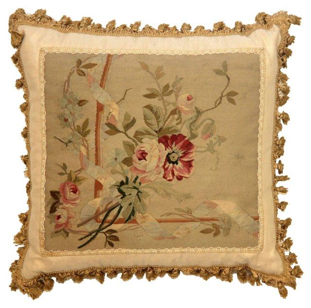 Antique Aubusson Pillow w/ Fringe