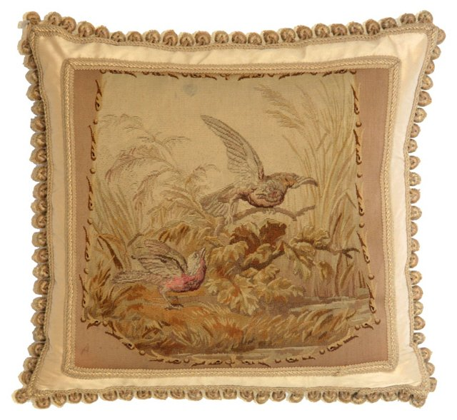 Pillow w/ French Bird Aubusson