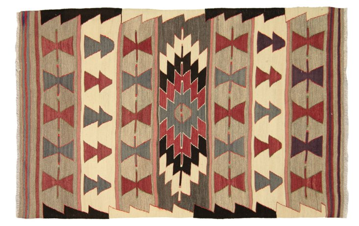 "Anatolian Turkish Kilim, 4'9"" x 3'"