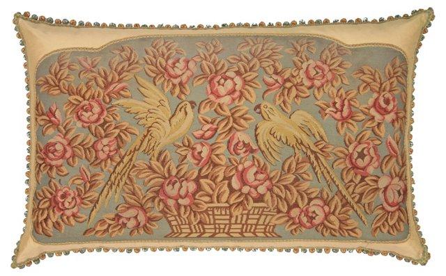 Floor Pillow w/ Antique Aubusson