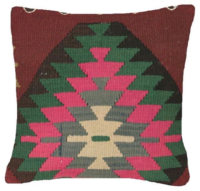 Turkish Kilim Pillow w/ Green