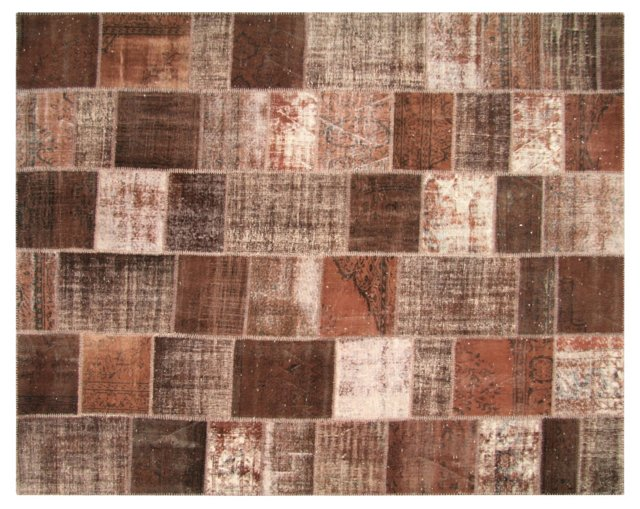 """Overdyed Patchwork Rug, 11'5"""" x 9'1"""""""