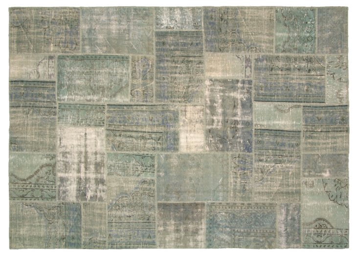 """Overdyed Patchwork Rug, 10'7"""" x 7'7"""""""