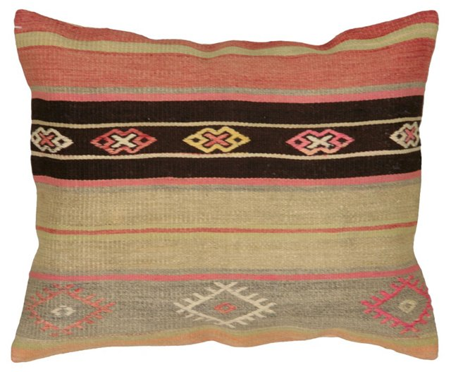 Turkish Kilim Pillow w/ Rust Stripe