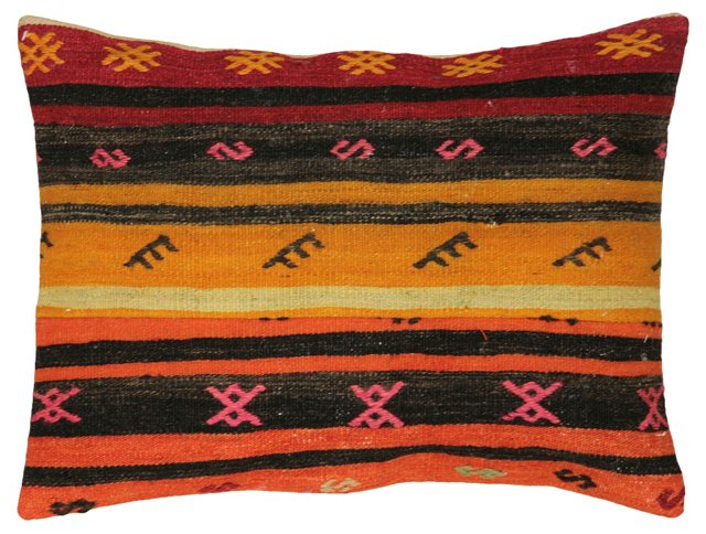 Multicolor Kilim Pillow w/ Orange