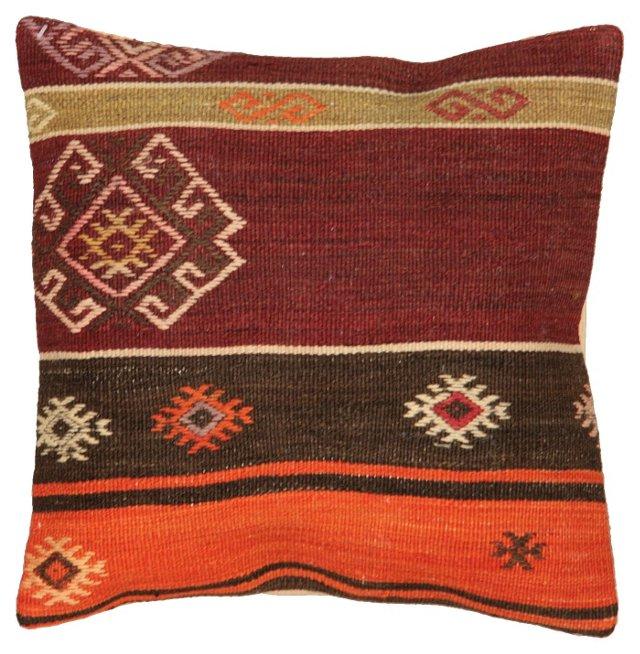 Turkish Kilim Pillow w/ Tangerine