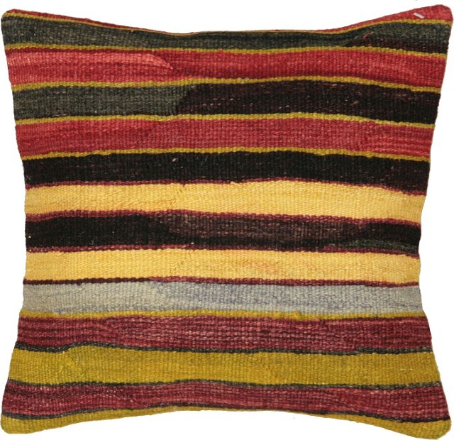 Kilim Pillow w/ Golden Stripes