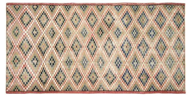 "Art Deco Turkish Rug, 3'9"" x 7'8"""
