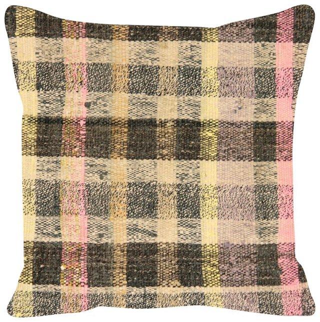 Beige-Striped  Turkish   Rag Rug Pillow