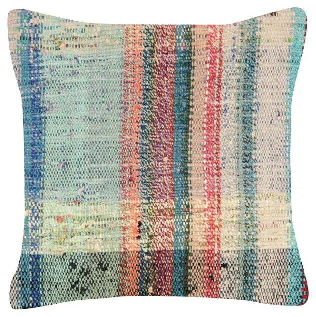 Turquoise Turkish   Rag Rug Pillow