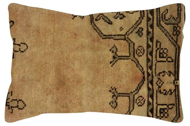 Beige  Oushak Rug Fragment    Pillow