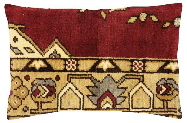 Red   Oushak Rug Fragment   Pillow