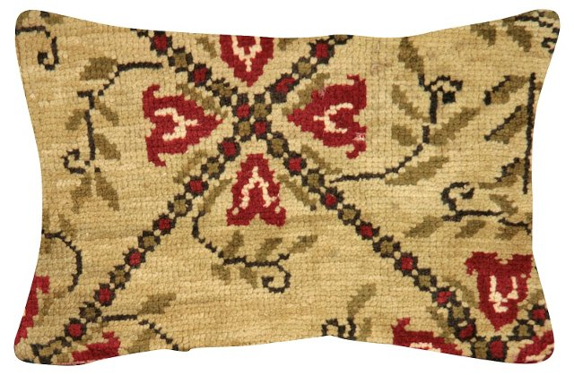 Red Floral   Oushak Rug Fragment Pillow