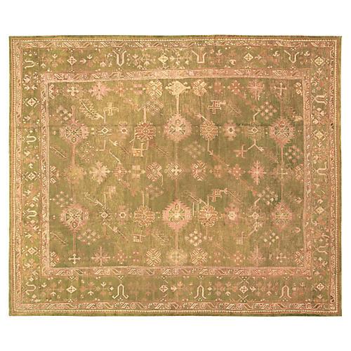 """Antique Oushak Carpet, 10'6"""" x 12'2"""""""