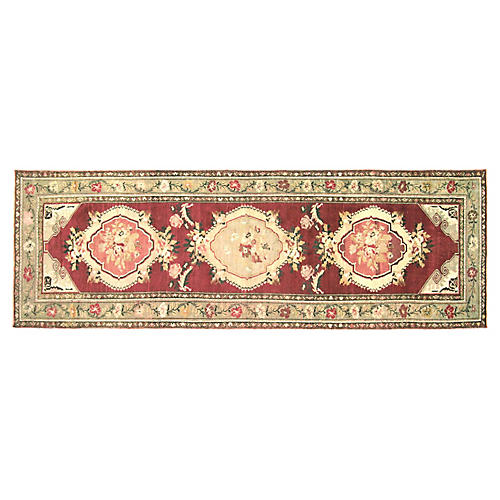1960s Turkish Oushak Rug, 3'6'' x 10'5''