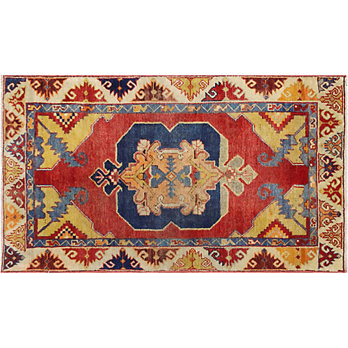 "1960s Turkish Oushak Carpet, 2'9"" x 4'8"""