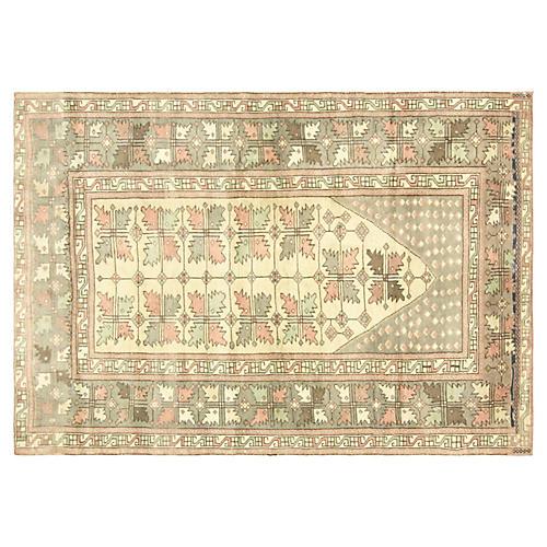 "1960s Turkish Oushak Carpet, 4'4"" x 6'4"""