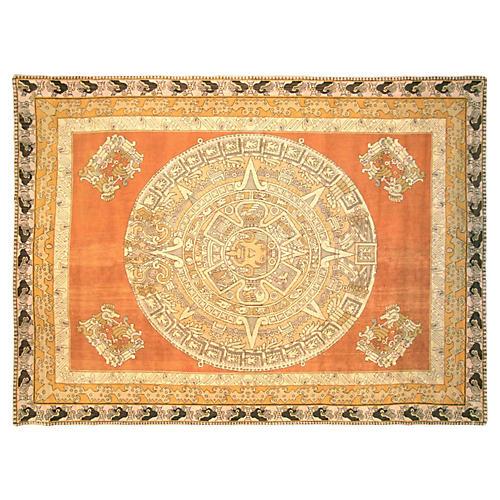 """1940s Oushak Carpet, 8'7"""" x 11'10"""""""