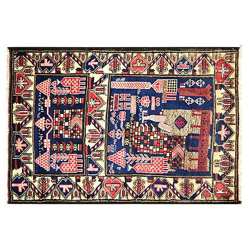 """1970s Afghan Baluch Rug, 3'1"""" x 4'6"""""""