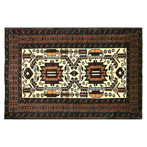 """1970s Afghan Baluch Rug, 2'1"""" x 4'6"""""""