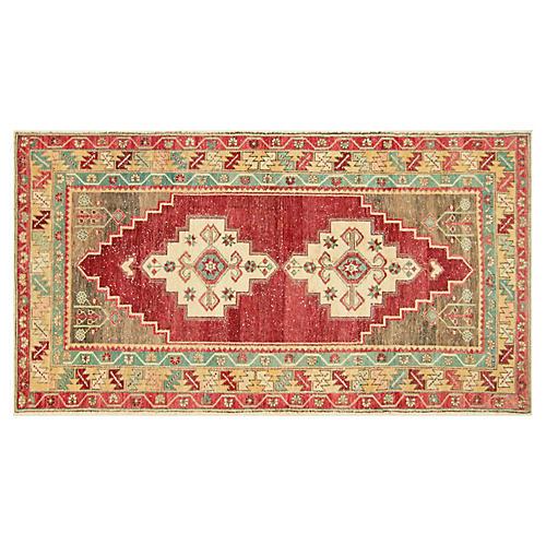 """1960s Turkish Oushak Rug, 4' x 7'5"""""""