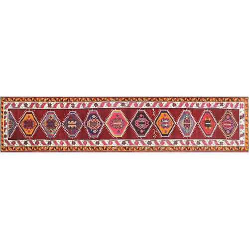 """1960s Turkish Oushak Rug, 2'10"""" x 12'10"""""""