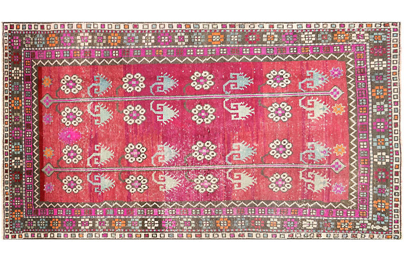 1960s Turkish Oushak Rug, 3'8