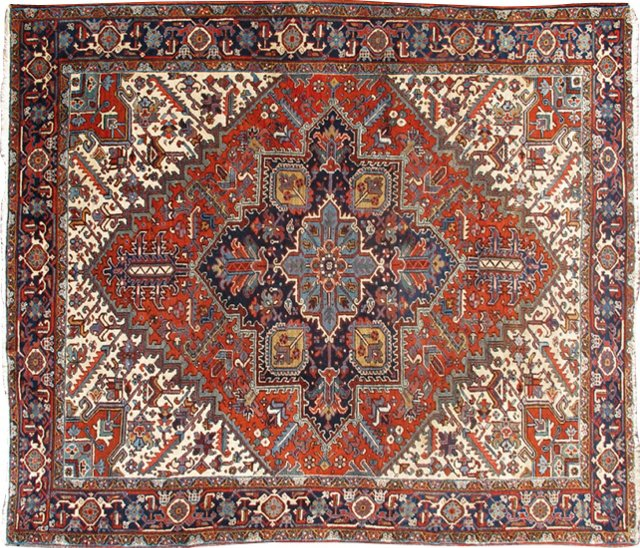 "Antique Persian Heriz, 10'9"" x 8'"