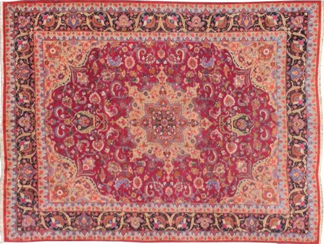 """Antique Persian Mashhad, 9'10"""" x 12'6"""""""