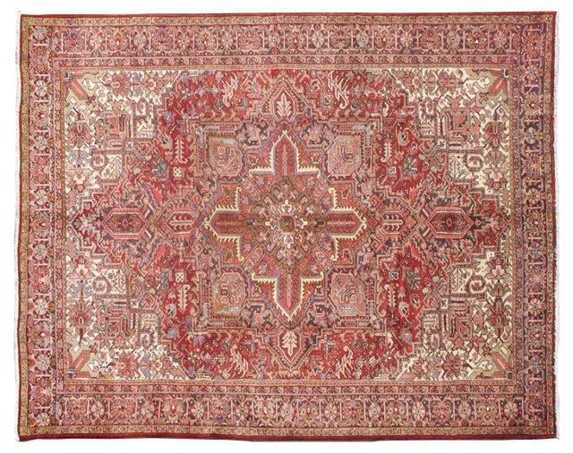 "Persian Heriz Carpet, 12'6"" x 9'9"""