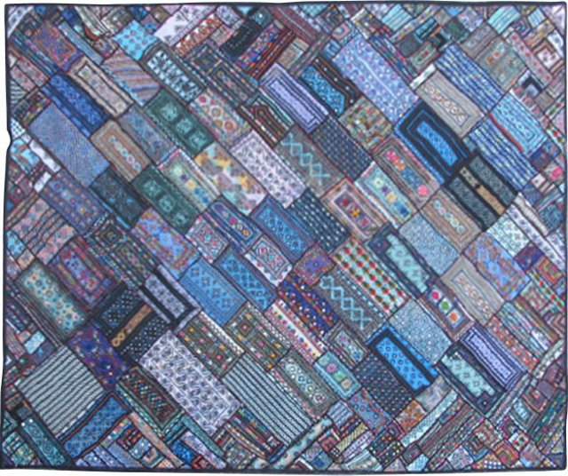 """Embroidery Patchwork Rug, 6'6"""" x 8'2"""""""