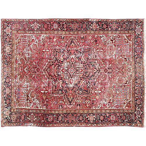 """Antique Persian Heriz Rug, 9'7"""" x 12'6"""""""