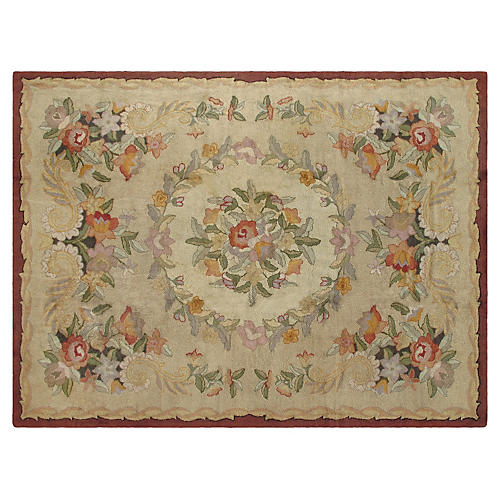 Antique Hooked Carpet, 9' x 12'
