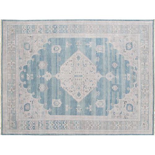 Blue Oushak Carpet, 10' x 13'
