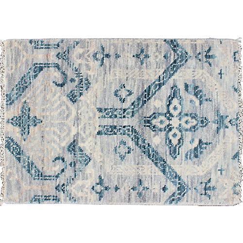 Gray & Blue Geometric Rug, 2' x 3'