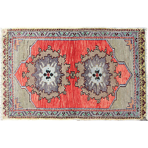 "Turkish Oushak Rug, 2'1"" x 3'4"""